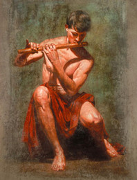 hands art play Canada - strong young man playing flute,Hand-painted Male portraits Art Oil painting On canvas In Any size customized