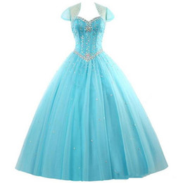 $enCountryForm.capitalKeyWord UK - 2017 Fashion Crystal Ball Gown Quinceanera Dresses with Beading Sequin With Jacket Plus Size Sweet 16 Dress Vestido Debutante Gowns BQ75