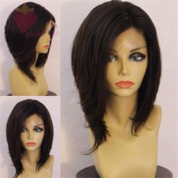 brown auburn half wigs Australia - New fashion bob full lace wigs lace front wig glueless Human Hair Wigs for black women african american with baby hair
