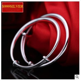 Wholesale S999 one thousand fine silver bracelet 20g Baby child silver bracelet smooth round belly skin-friendly baby full moon birthday gift for 0-6