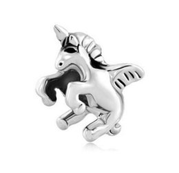 angel wings beads metal 2020 - MYD Jewelry Rhodium Silver Color Plating Angel Wing Flying Horse Bead European Charm Fit Pandora Bracelet