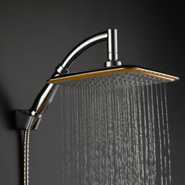 Cheapest!! wholesale 9 inches big size square rainfall showerhead universal watersaving hydrotherapy anion shower nozzle on Sale