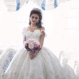 $enCountryForm.capitalKeyWord NZ - 2019 Arabian Design Sweetheart Appliqued Beaded Floral Short Sleeve Puffy Wedding Dresses Bridal Gowns Floor Length