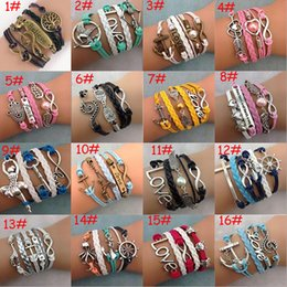 Love Life Bracelets Canada - New 38 styles fashion Leather Bracelets Multilayer Owl Love Heart Tree of Life Jewelry DIY woven Antique Bracelets