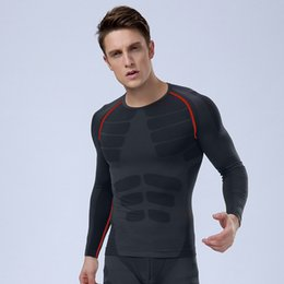 Chinese  Wholesale-New Shapers Men Elastic Compression Under Base Layer Tops Tights Long Sleeve TShirt Sport Gear Fitness, gym,running, jogging manufacturers