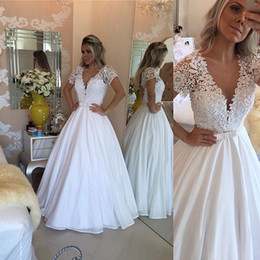 $enCountryForm.capitalKeyWord Australia - Pluning V Neck White Prom Dresses A Line Sheer Short Sleeves Lace Crystals Beaded Bowknot Long Evening Party Bridal Gowns