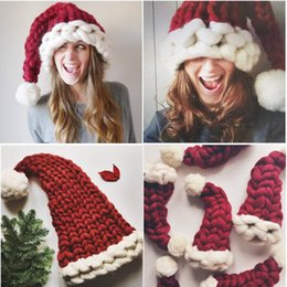 Discount happy new years - Adults Children Thick Line Knitted Christmas Party Hat Pom Poms Red with White Santa Claus Caps Happy New Year Gift