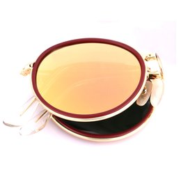 China New Arrival Brand Designer Sunglasses Mirror Metal Frame Flash Pink Len Folding Round for Men and Women Unisex Sun Glasses Come with Package suppliers