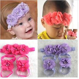 $enCountryForm.capitalKeyWord Australia - New Arrival 3PCS SET New Baby Headband Drill Flower Chiffon Hair Band With Foot Wrist Flower With 12 Colors 12set