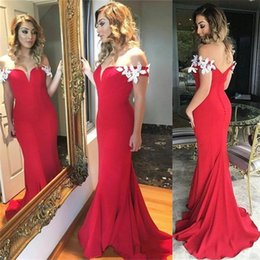 Robes Formelles Sexy Sans Dos Pas Cher-Red longues robes de soirée 2017 Appliques de l'épaule Mermaid robe de bal formelle Mermaid Party robes Backless Vestidos