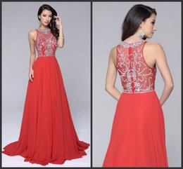 Dreses De Fête À Bas Prix Pas Cher-Iullsion Prom Party Gown Squin Beading Sparked Cheap Dreses Elegant Red Carpet Robe Fashion Runaway Gown Zipper Back Long Sleeveless