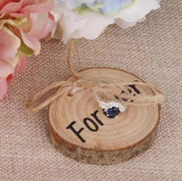Wholesale Wedding Ring Bearer Wood ring pillows Slice Rustic Wooden Ring Holder Wedding Ring Holder with Burlap Creative Retro Wedding Decoration WT40
