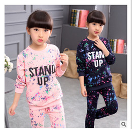 $enCountryForm.capitalKeyWord Canada - Girls Boys Tracksuit Kids Clothing Sets Star Sky Dot Tops Harem Pants Children Navy Blue Pink for 4-12 Ages Hip-hop Sport Suit