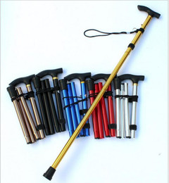 $enCountryForm.capitalKeyWord NZ - Outdoor portable folding cane 4-section Aluminum Alloy Adjustable Canes Camping Hiking Mountaineer Walking Sticks Trekking Pole 6 Colors