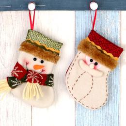 1pc santa claus snowman christmas stockings small sock kids gift bag candy xmas decor christmas tree ornaments supplies zl202