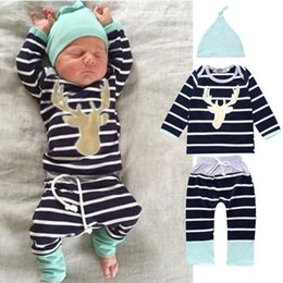 $enCountryForm.capitalKeyWord NZ - infant baby boy Christmas reindeer pattern striped clothing set for toddler boy long sleeves suit 3pcs with hat Cotton clothes wholesale