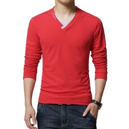 Mens Long V Neck T Shirts Canada - Hot Sale 2017 New Fashion Brand V-Neck Long Sleeve T Shirt Men Slim Fit Tee Casual Mens T Shirt Cotton Top Tee Shirts 4XL 5XL YH-016