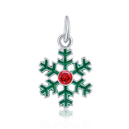 $enCountryForm.capitalKeyWord UK - Christmas festival beads hanging Green snowflake pendant European Charms fit Pandora Snake Chain Bracelets Wholesale Charm Jewelry