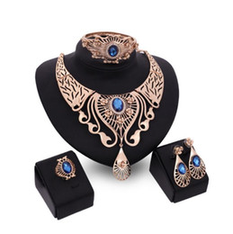 $enCountryForm.capitalKeyWord UK - Fashion wedding Jewelry set for women party Red Blue Brown Rhinestone Crystal Hollow Out Necklace Earring Ring Bracelet Charm Jewelry Set