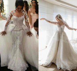 Bridal Satin Mermaid Wedding Dresses Canada - 2018 Arabic Wedding Dresses Mermaid Bridal Dresses Sexy Lace Long Sleeves Overskirts Bridal Wedding Gowns Luxury Dress Detachable Train