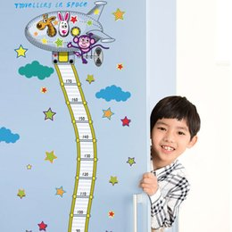 kids growth chart wall art Canada - Fire Truck Aerial Ladder Height Measurement Wall Sticker Kids Boys Room Nursery Growth Chart Wall Decal Cartoon Animal Wallpaper