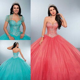 Robes Deboutantes Blinges Pas Cher-Vintage Perles strass Quinceanera Robes Bling Sweetheart Neck Sweet 16 Masquerad Ball Gowns Coral Cristaux Debutante Ragazza Robe