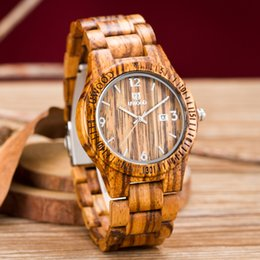 Uwood Luxury Natural Handmade Wood Watch Top Gift Date Coffee Wooden Japnese Quartz Movement Wrist For Men And Women