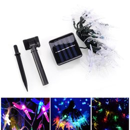led outdoor string lights wholesale UK - Umlight1688 Solar Christmas Lights 19.7ft 30 LED 8 Modes Solar Dragonfly Fairy String Lights for Xmas Party Decorations Outdoor Solar Lamp