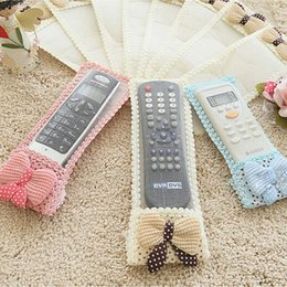 $enCountryForm.capitalKeyWord Canada - Wholesale- 3Size 3color Bowknot TV Remote Control Case Air condition Remote Control Cover Textile Protective Bag TV Air Condition Protector