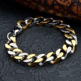 $enCountryForm.capitalKeyWord Canada - Exaggerated Men Twisted Pulseras Titanium Steel Bracelet Wristbands Bangle Male Jewelry Punk Cuff Brace lace Polished Gold Silver 23cm