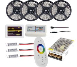 rf controller wifi Canada - WIFI 20m Waterproof LED Strip Light RGB RGBW RGBWW 5050 SMD Reel Tiras Lights + RF Remote Controller + Power Supply Adaptor + Amplifier