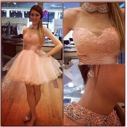 Barato Luz Rosa Ruffle Linha-Amazing Light Pink Short Homecoming Vestidos 2017 High Neck Beaded Ruffles Lace Tulle Mini 8th Grade Graduation Party Prom Dress Cheap 2016