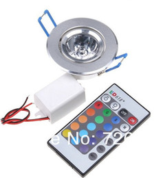 remote control bed UK - LED Light Bulbs Lamp 3W RGB 16 Colors Spot Light AC85-265V + IR Remote Control RGB LED Ceiling Downlight