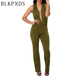 Sexy Et Sexy Pas Cher-Vente en gros - Hot New Fashion Summer Jumpsuit sexy Halter V Neck Ladies Bodycon Vestido Femmes Night Clubwear Vêtements Playsuits Livraison gratuite