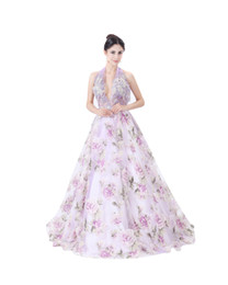 beach wedding dresses floral UK - modabelle Women's Organza Print Wedding Dress Advanced Customization Formal V-neck Bridal Dresses Robe De Mariee 2017