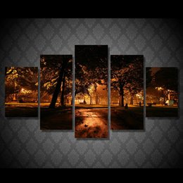 canvas prints free shipping NZ - 5 Pcs Set Framed Printed tree lights at night Painting Canvas Print room decor print poster picture canvas Free shipping ny-5003