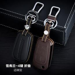 $enCountryForm.capitalKeyWord Canada - 100% Genuine Leather Car Key Case Cover 4 Buttons Folding For 2014 2015 Chevrolet Malibu Car Key Holder Bag Keychain Car Key Accessories