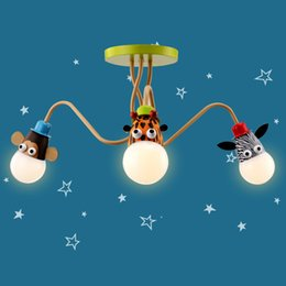 Kids Room Ceiling Light Boy Girl Warm Bedroom Ceiling Lamp LED Bulb  Creative Animal Head Cartoon Modern Design