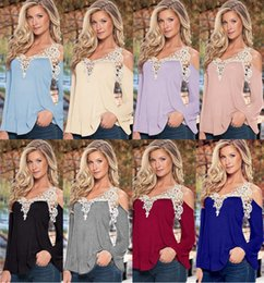 Longsleeve Sexy Pas Cher-New Patchwork V Neck Loose T-shirt Causal Sexy Strapless Hollow Out T-Shirt Longsleeve