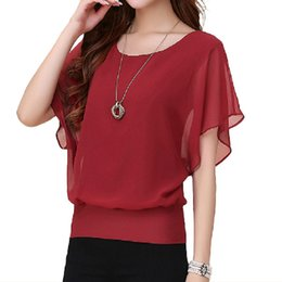 Blouse À Volants Noir Taille Plus Pas Cher-2017 New Womens Tops Fashion Women Chemisier en mousseline d'étourdière Plus Size Ruffle Batwing Short Sleeve Casual Shirt Noir Blanc Rouge Bleu