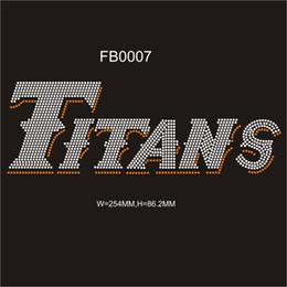 Discount rhinestones transfers for t shirts wholesale - 2017 shiny Titans hot fix RHinestone transfer designs custom DIY for your t-shirt 30pcs each bag