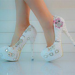 2018 Bridal Wedding Shoes Size 12 New Style Lover Pig Rhinestone White Pearl