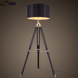 fumat tripod floor lamp modern black fabric shade floor light retro wood standing lamp designer floor