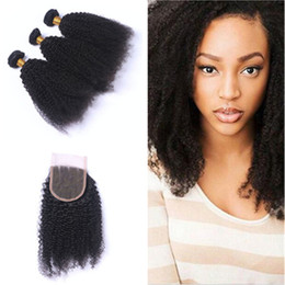brazilian human hair for weaving Australia - New Arrival Afro Kinky Curly Hair Bundles With Lace Closure 4x4 Brazilian Human Hair Extensions With Top Lace Closure Pieces For Black Woman