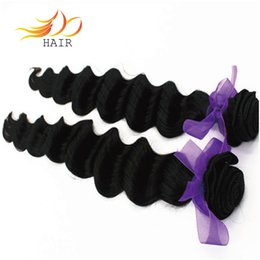 Human Hair Extensions Delivery Canada - 8A Peruvian Human Hair Weave 12-24inch 2bundles lot Natural Color Fast Delivery Loose Deep Wave Human Hair Extensions Tangel Free