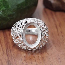 vintage sterling silver ring mountings Australia - 925 Sterling Silver Women Ring Semi Mount Engagement Wedding Ring 10x13mm Oval Cabochon Setting Jewelry Filigree Vintage Plated White Gold
