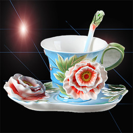 $enCountryForm.capitalKeyWord Canada - Fine Art Porcelain Ceramic Rosa Shape Coffee Tea Set Cup Sauce Spoon