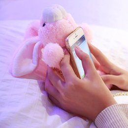 cute 3d cell phone cases UK - 3D Bunny Doll Cell Phone Cases For iPhone 8 7 7Plus 6S Plus Plush Toy Lovely Cute Rabbit Fur Ball Cover With Chain