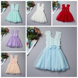 CroChet Cotton vest online shopping - 2017 Summer Baby Girls Lace Dress Kids Sundress Gauze Jumper Skirt Europe American Children Crochet Vest Dress style
