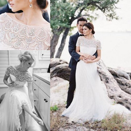 Short Formal Wedding Dress NZ - 2017 Country Wedding Dresses Bateau Neck Illusion Short Sleeves Beading Crystal Pearls Full Lace Sweep Train Plus Size Formal Bridal Gowns